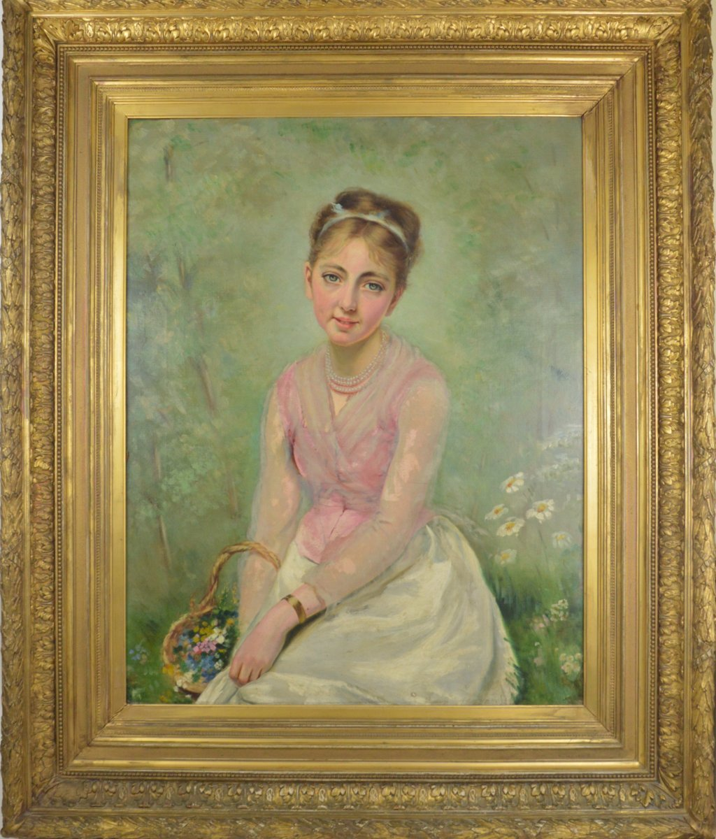 Large Portrait Painting  Of Girl 19th