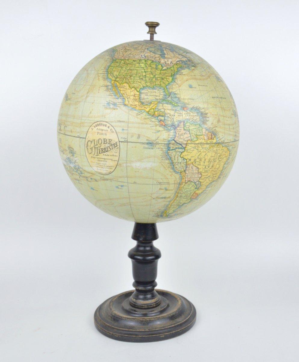 Ancien Globe Terrestre 19ème J.Lebègue et Cie