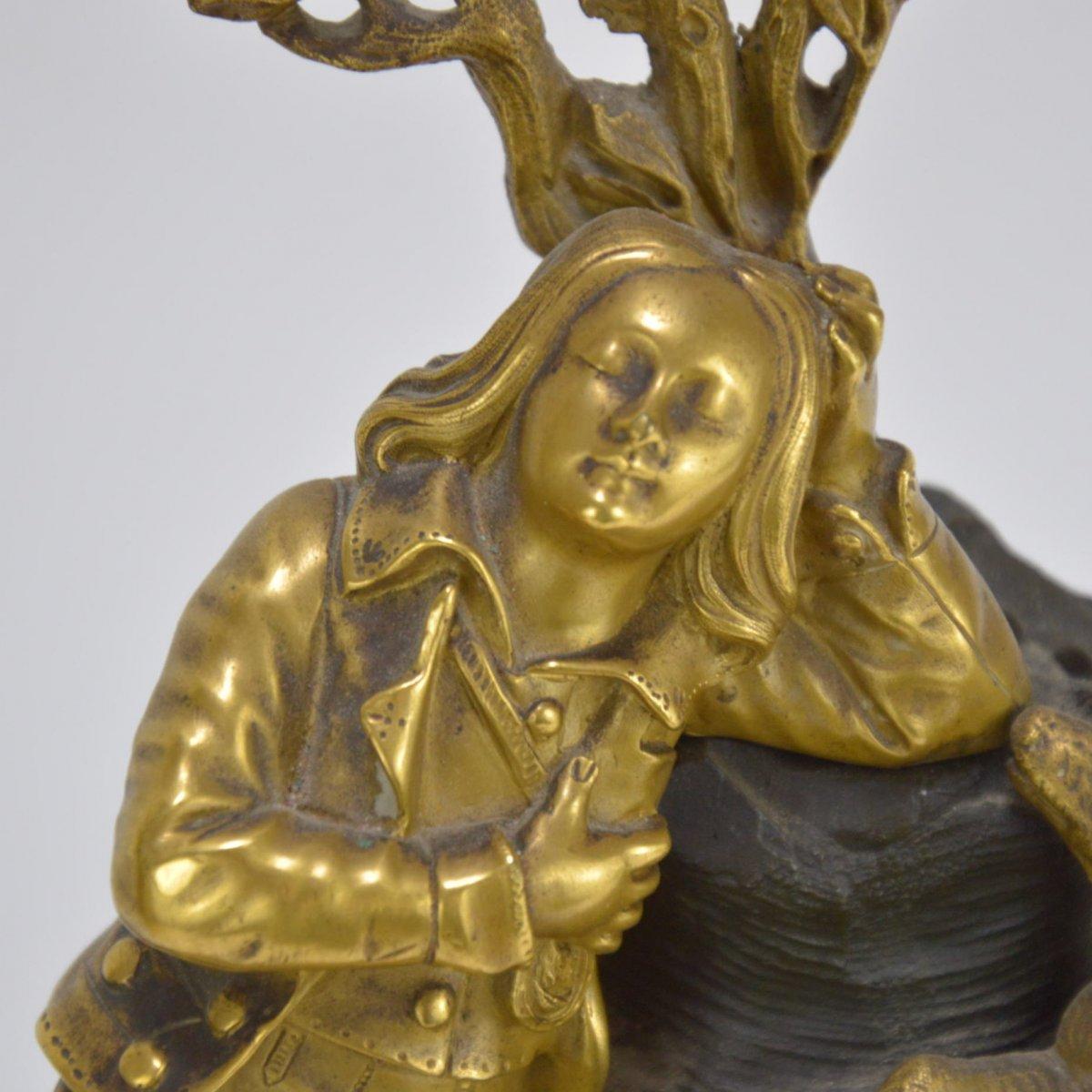 Pendule En Bronze Doré Présentant Garçon Dormant Au Chien 19ème-photo-4