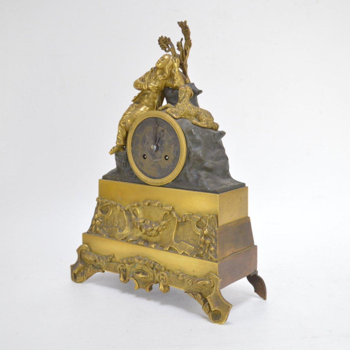 Pendule En Bronze Doré Présentant Garçon Dormant Au Chien 19ème-photo-5