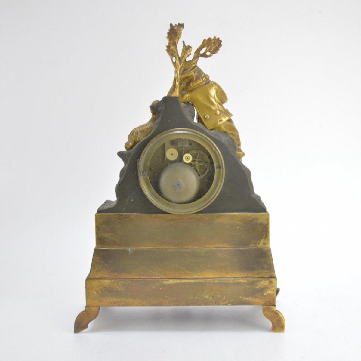 Pendule En Bronze Doré Présentant Garçon Dormant Au Chien 19ème-photo-6