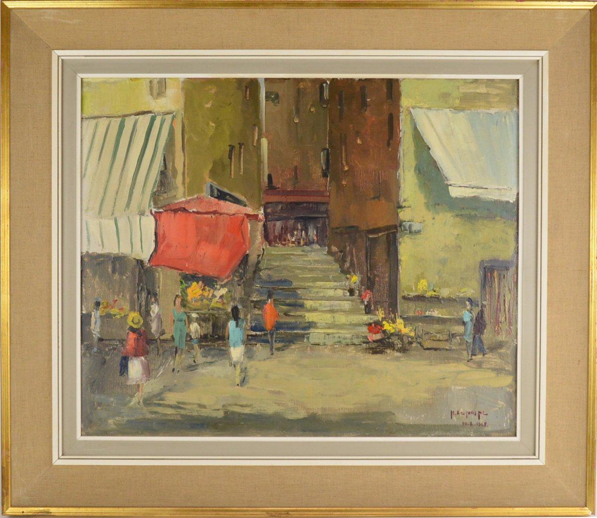 Henri Lemoine (1922-2009) Peinture Vue De Ville Méditerranée 1965 Huile Sur Toile