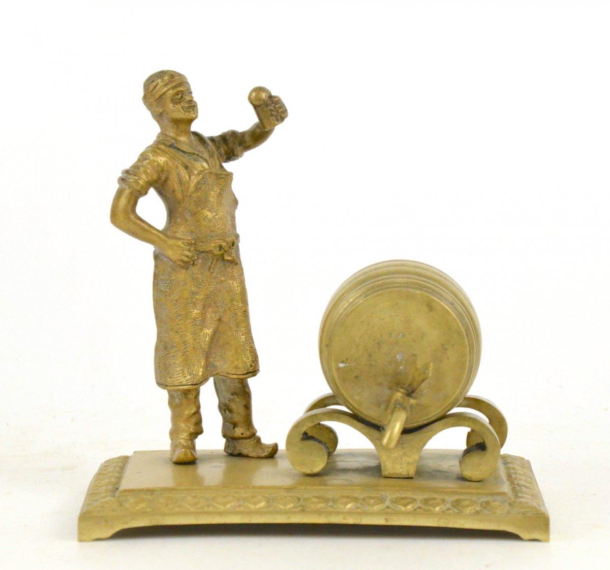 Miniature Sculpture En Bronze Le Brasseur Au Tonneau 19ème