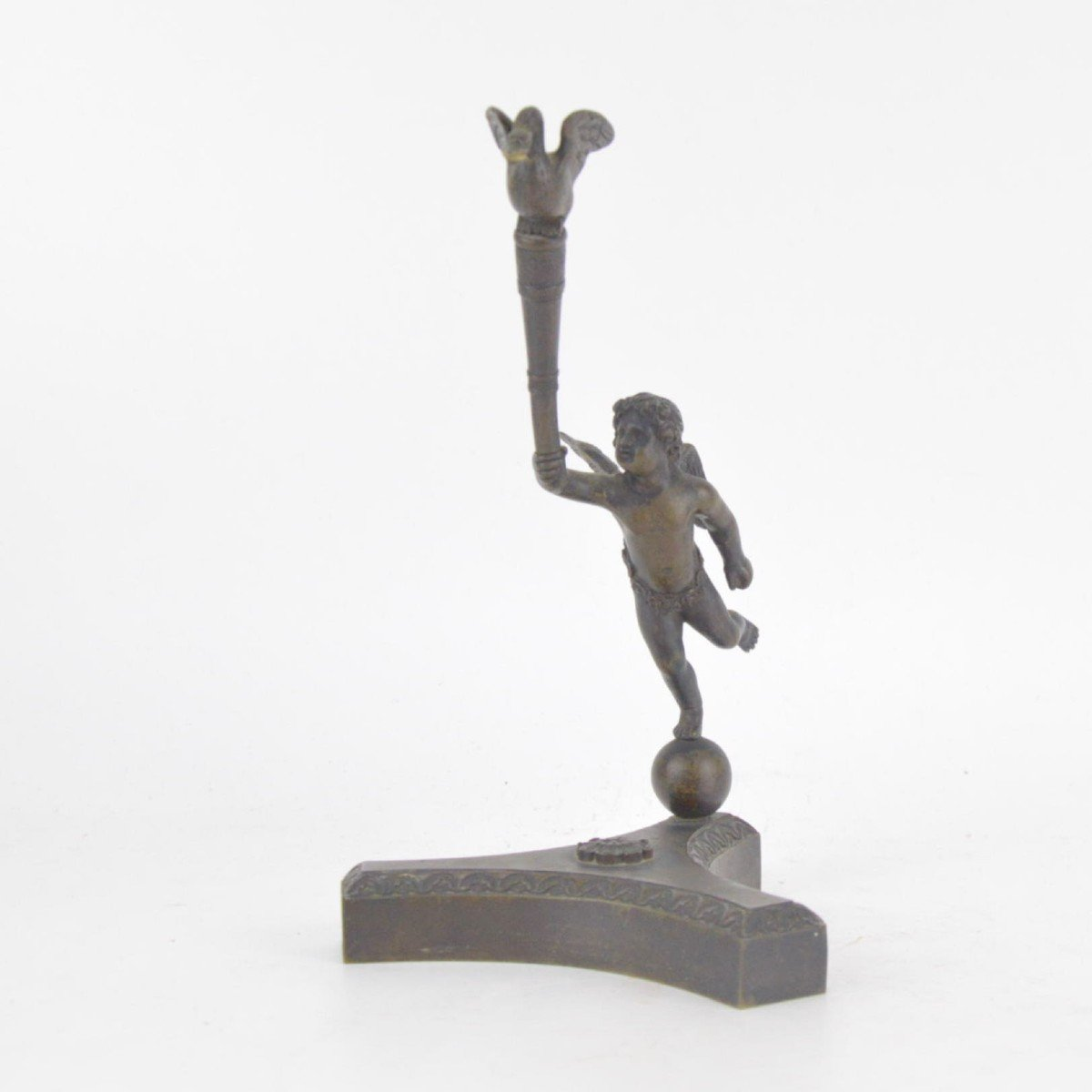 Bronze Watch Holder With Brown Patina In The Shape Of A Putto Holding Stick With A Goose 19th C-photo-2