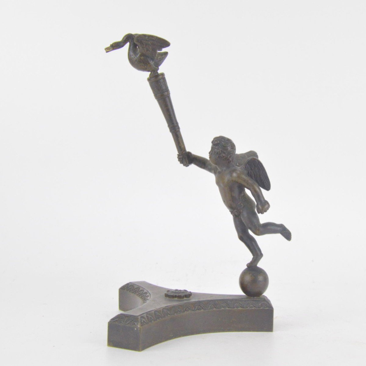 Bronze Watch Holder With Brown Patina In The Shape Of A Putto Holding Stick With A Goose 19th C-photo-1