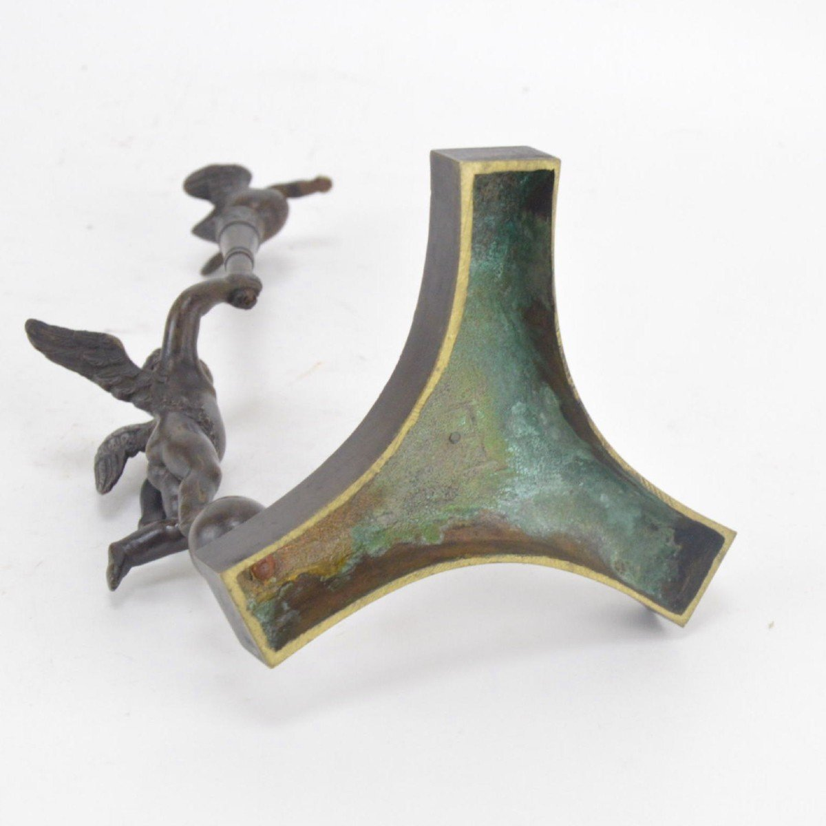 Bronze Watch Holder With Brown Patina In The Shape Of A Putto Holding Stick With A Goose 19th C-photo-5