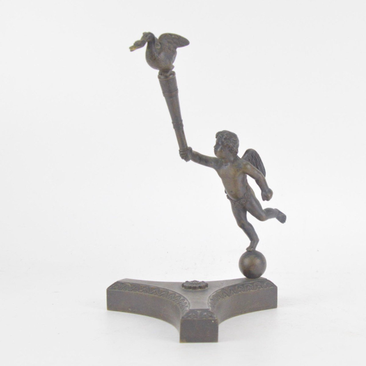Bronze Watch Holder With Brown Patina In The Shape Of A Putto Holding Stick With A Goose 19th C