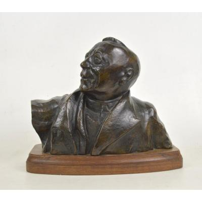 Jozef Cantre (1890-1957) Bust Of Edouard Anseele, C.1938 / 48 Patinated Bronze.