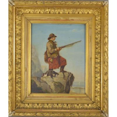 F. Le Fevere De Tenhove. Peinture - Chasseur Avec Chien. Signé Et Daté 1884.
