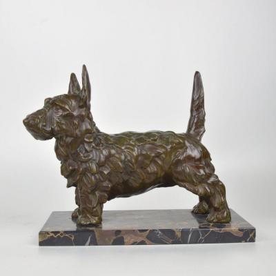 Art Deco Sculpture West Highland Terrier Patinated Bronze