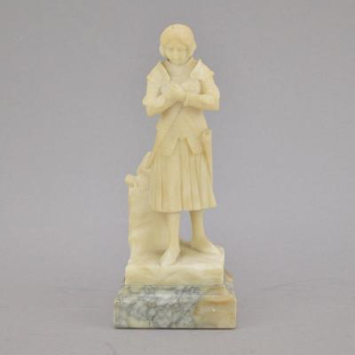 Jeanne d'Arc Alabaster Sculpture On A Marble Base. Signed Prof. F. Masini And Marked Florence
