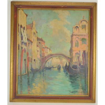 Jean Van Crombrugge (1890-1956) View From Venice Hsp 41x34 Cm