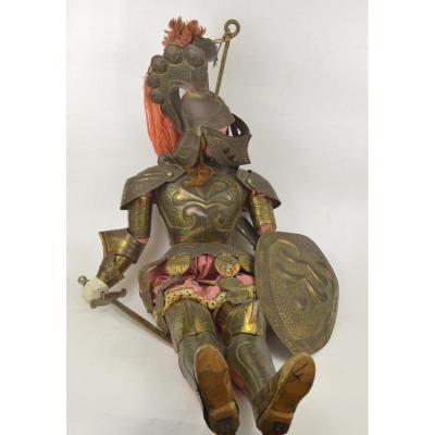 """Poupée marionette Italienne ancienne """"Opera dei Pupi"""" en bois sculpté et métal 110 cm"""