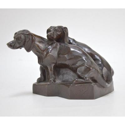 Patinated Bronze Sculpture Couple Of Dachshunds 1939 Signed