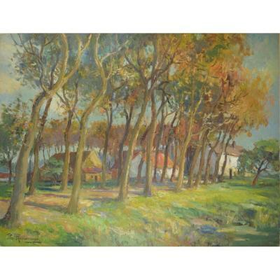 Jean W. Van Nieuwenhuyse (1900-1980) Belgian School Landscape Oil On Canvas 90x70 Cm