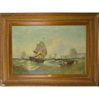 William James Callcott (1843-1890) Peinture Marine Bateaux Français  Dans La Tempête 19ème 1869