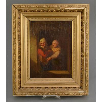 Painting Old Couple Flemish School 19th Century Hsp