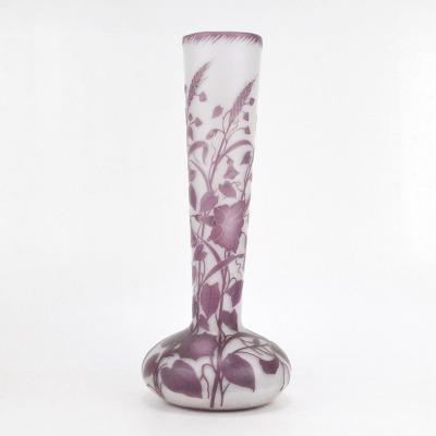 Vase En Art Nouveau En Verre Double Cristallerie De Pantin à Décor Volubilis Et Papillons