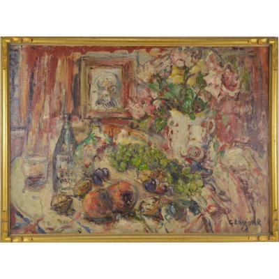 René Clarot (1882-1972) Peinture Nature Morte Aux Fruits Et Fleurs Hst