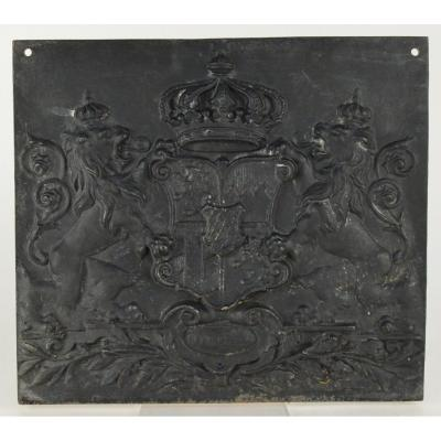 19th Century Fireplace Back Patinated Cast Iron Plate Coat Of Arms Decoration