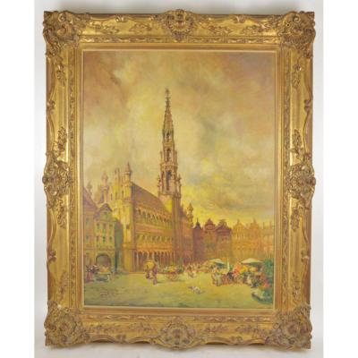 Painting View Of Grand Place In Brussels Belgian School Circa 1900 Signed