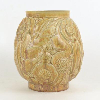 Vase Art Deco En Grés d'Art Roger Guerin Bouffioulx Mod. 700 Signé