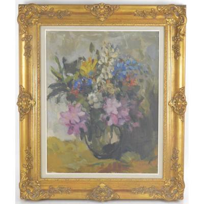 Gustave Camus (1914-1984) Still Life Painting With Flowers Oil On Canvas
