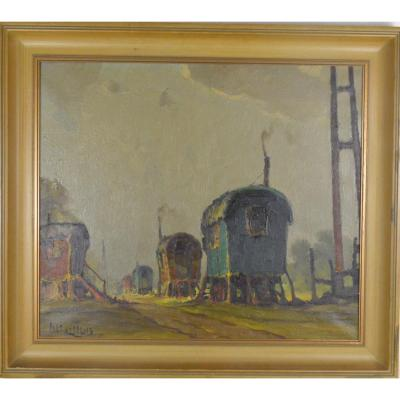 Piet Lippens (1890-1981) Peinture Les Roulottes Huile Sur Toile