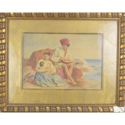Franz Thelen (1826 - 1877) Famille En Bord De Mer 1860 Aquarelle Sur Papier