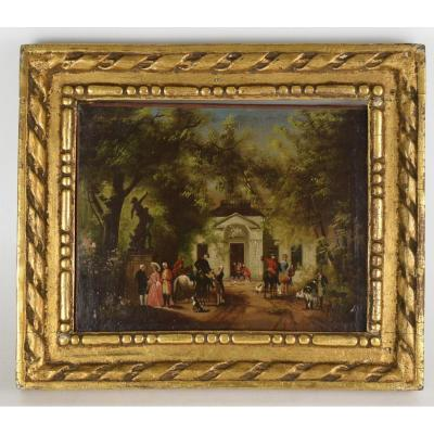 Peinture Vue d'Amalienburg (munich) Huile Sur Toile Rentoilée 19ème
