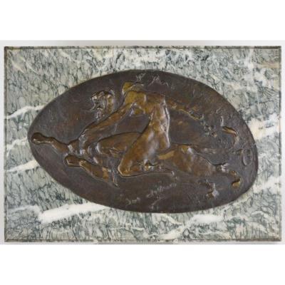 Juliaan Dillens (1849-1904) Medaillon En Bronze Patiné Bataille De Mowgli Et Shere Khan Signé