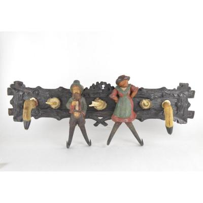 Carved And Painted Wooden Coat And Hat Rack Black Forest Style Work Decorated With Personnages