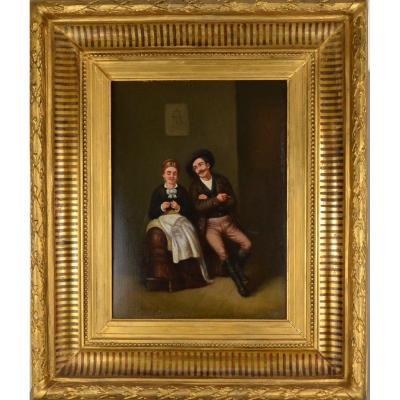 Peinture Scene Du Genre Le Flirt Huile Sur Panneau Singé XIXème