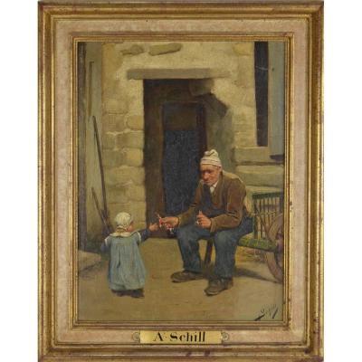 Adolf Schill (1848 - 1911) Grand-père Et Sa Petite Fille Huile Sur Panneau