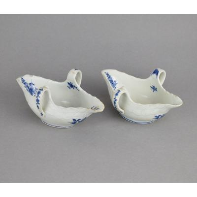 Pair Of Soft Porcelain Sauceboats Tournai With White Blue Decoration XVIIIth Century