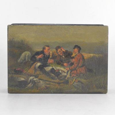 Boîte Laqué Russe d'Après Peinture Du Vassili Perov Les Chasseurs à La Halte Circa 1900