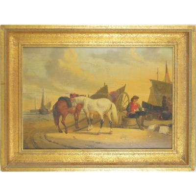 Joseph Jacops (1806-1856) Painting Fishermen And Horses Near The Coast Oil On Board