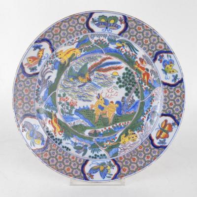 Grand Plat En Faience De Delft à Décor Polychrome à L'oiseau Fong Hoang Signé Roos 19ème