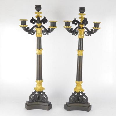 Pair Of Four Branches Ormolu Bronze Charles X Style Candelabra  19th Century