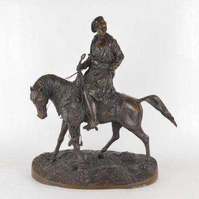 Sculpture En Bronze à Patine Médaille Cavalier Maure 46 Cm Orientalisme