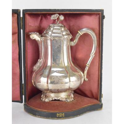 Chiseled Engraved Silver Coffeepot With Rocailles Motifs 19th Century In Its Original Case