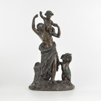 Clodion (1738 - 1814) After Bronze Sculpture With Brown Patina Bacchante