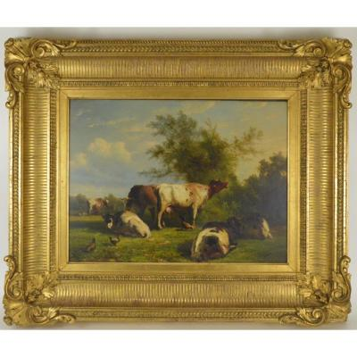 Ildephonse Stocquart (1819 - 1889) Landscape With Cow And Hens Oil On Panel