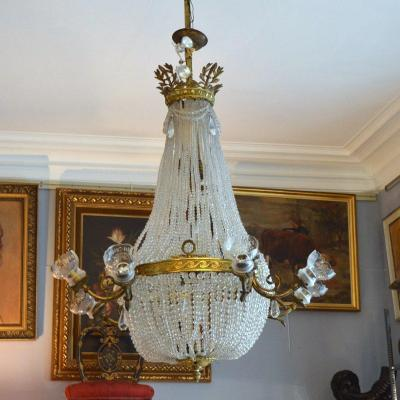 Gilt Bronze Montgolfier Chandelier With Twelve Lights Glass Beads And Crystal Tulips 19th C