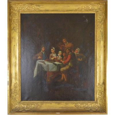 Peinture Repas Familial École Flamande Huile Sur Toile XIXème