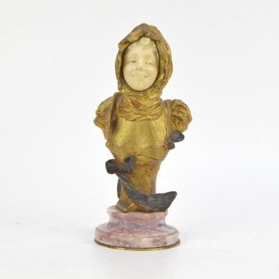 Georges Van Der Straeten (1856-1928) Buste d'Une Fille Sculpture En Bronze Doré Et Ivoire