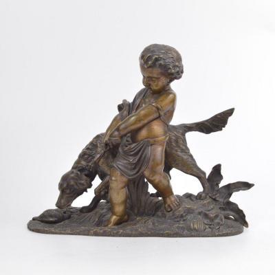 Auguste Joseph Peiffer (1832 - 1886) d'Après Putto Et Son Chien Sculpture En Bronze Patiné