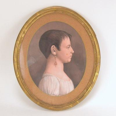 Dessin En Pastel Profil d'Estelle Régnier à Vue Ovale 19 ème