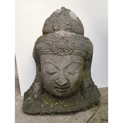 Large Stone Sculpture Asian Buddha Head 54 Cm