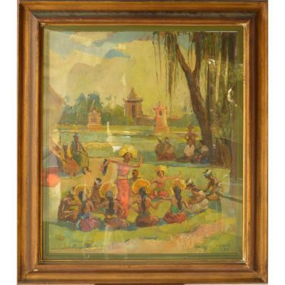 Pietro Antonio Gariazzo (1879-1963) Les Danseuses Thaïlandaises  HSP